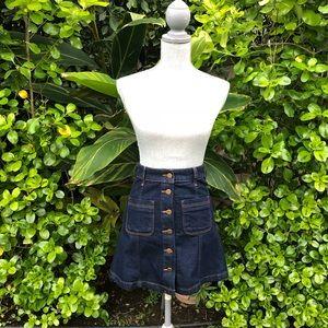 High Waisted Denim Button Up Skirt